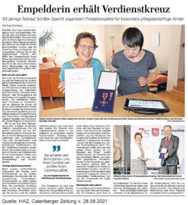 Zeitungsartikel HAZ Ordensverleihung